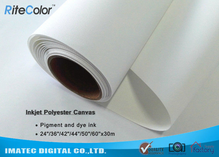 "280gsm 24 "" Printable Waterproof Polyester Canvas Rolls For Inkjet Plotter"